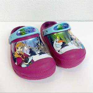 Disney Frozen Fur Lined Crocs Size 1